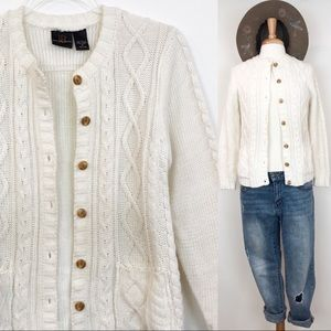Vintage Cable Knit Cardigan • Small